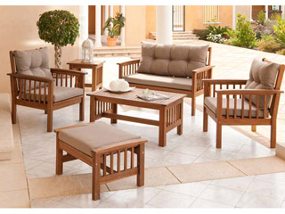 Conjunto jard n morocco madera de acacia carrefour for Conjunto jardin madera